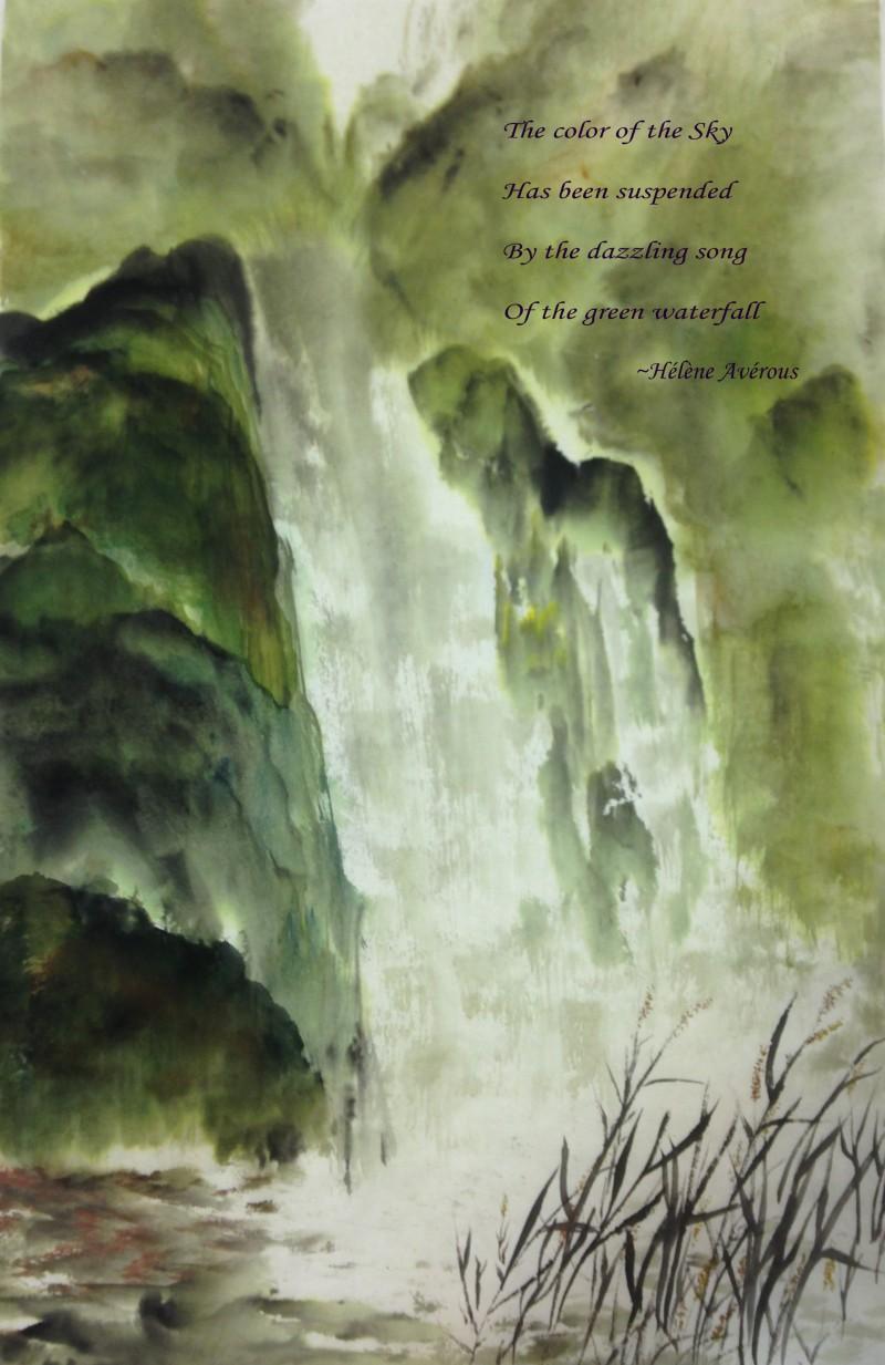 Waterfall Chinese Ink Painting Helene Averous